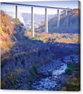 The Atenquique River Passes Under The Highway Bridge Canvas Print