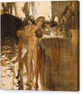 The Balcony, Spain Two Nude Bathers Standing On A Wharf Canvas Print