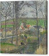 The Banks Of The Viosne At Osny In Grey Weather, Winter Canvas Print