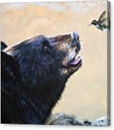 The Bear And The Hummingbird Canvas Print