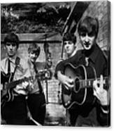 The Beatles In London 1963 Black And White Painting Canvas Print