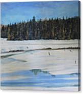 The Beaver Pond In Winter Canvas Print