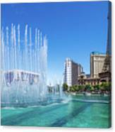 The Bellagio Fountains In Front Of The Eiffel Tower 2 To 1 Ratio Canvas Print