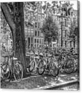 The Bicycles Of Amsterdam In Black And White Canvas Print
