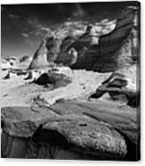 The Bisti Badlands - New Mexico - Black And White Canvas Print