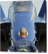 the Blue Angels waits for a signal from his pilot  Canvas Print