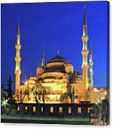 The Blue Mosque At Night Istanbul Turkey Canvas Print