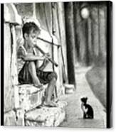 The Boy The Cat And A Flute Canvas Print