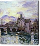 The Bridge Of Moret At Sunset Canvas Print