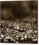 The Burning Of San Francisco Panoramic View Of San Francisco From Twin Peaks April 1906 Canvas Print
