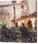 The Cactus Courtyard - Mission Santa Barbara Canvas Print