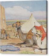 The Caravan, An Arab Encampment At Edfou Canvas Print