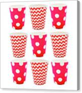 the Card with Red paper disposable glass in polka dot and zigzag isolated on white with copy space Canvas Print