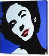 The Charming Lady In Black And White With Red Lips Canvas Print