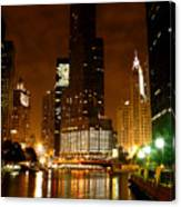 The Chicago River At Night Canvas Print