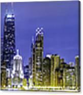 The Chicago Skyline Night-panoramic-001 Canvas Print