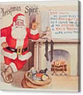 The Christmas Spirit Vintage Card Santa Next To Fireplace Canvas Print