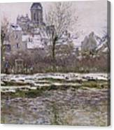The Church At Vetheuil Under Snow Canvas Print