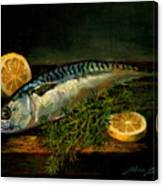 The Cold Water Mackerel With Dill  Lemon. Canvas Print