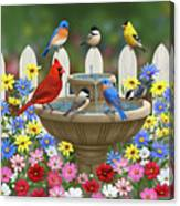 The Colors Of Spring - Bird Fountain In Flower Garden Canvas Print