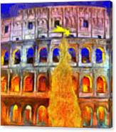 The Colosseum And Christmas  - Van Gogh Style -  - Da Canvas Print