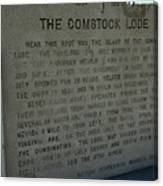 The Comstock Lode Marker Canvas Print