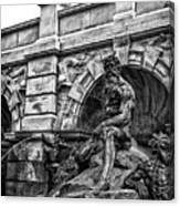 The Court Of Neptune Fountain In Black And White Canvas Print