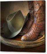 The Cowboy Boots, Hat And Lasso Canvas Print