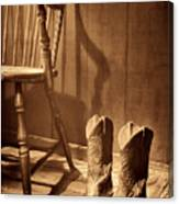 The Cowgirl Boots And The Old Chair Canvas Print