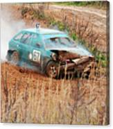 The Damaged Car In A Smoke Canvas Print