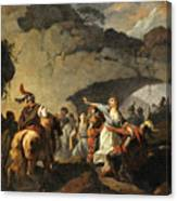 The Daughter Of Ariovistus Made Prisoner By Caesar During The Germans' Defeat Canvas Print