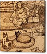 The Doll, The Kitties And The Gingerbread Boy Canvas Print