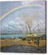 The Downpour. Santona Bay By Dario De Regoyos, 1900. Canvas Print