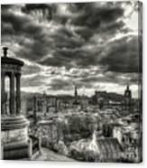 The Edinburgh Skyline, And Dugald Stewart Monument. Canvas Print