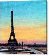 The Eiffel Tower At Sunset Canvas Print