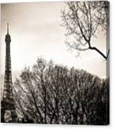 The Eiffel Tower In Backlighting. Paris. France. Europe. Canvas Print