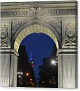 The Empire State Building Through The Washington Square Arch Canvas Print