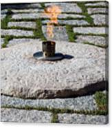 The Eternal Flame At President John F. Kennedy's Grave Canvas Print