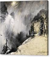 The Falling Flakes Mountain Scene. Yosemite A Mountain Snowfall Canvas Print