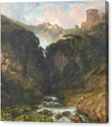 The Falls Of Tivoli With The Temple Of Vesta  Canvas Print