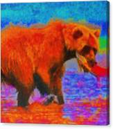 The Fishing Bear - Da Canvas Print