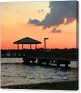 The Fishing Dock At Sunset Canvas Print