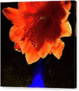 The Flower Of Cactus In A Blue Vase. Canvas Print