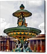 The Fountain At Le Concorde Canvas Print