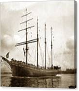 The Four-masted Barkentine  Jane Stanford Built By Hans Bendixse 1892 Canvas Print