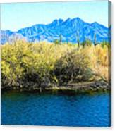 The Four Peaks From Saguaro Lake Canvas Print
