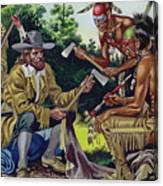 The French In Canada, Trading For Fur With The Native People Canvas Print