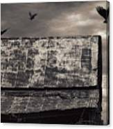 The Gathering - Vultures Above An Old Barn Canvas Print