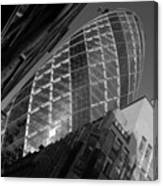 The Gherkin Black And White Canvas Print