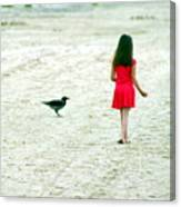 The Girl And The Raven Canvas Print